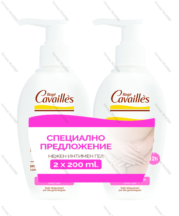 ДУО-ПАКЕТ Roge Cavailles Intime EXTRA-DOUX, Нежен интимен гел, 2 х 200 мл.