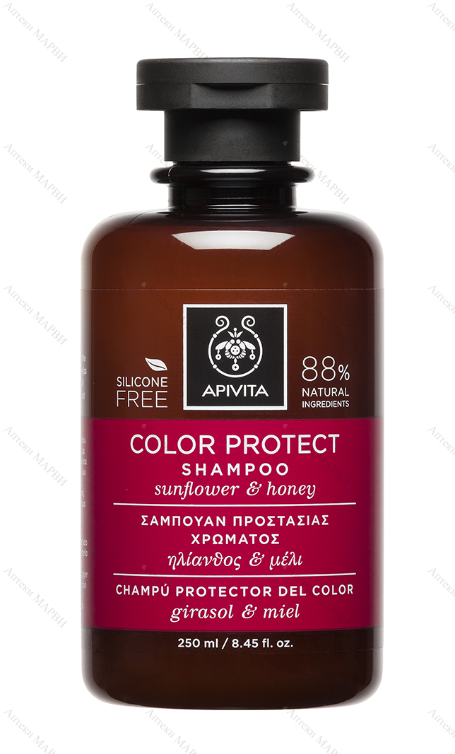APIVITA Color Protect, Шампоан за боядисана коса - с мед и слънчоглед, 250 мл.