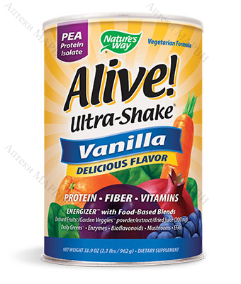 Alive! Ultra-Shake Vanilla Pea Protein Isolate, Ултра шейк Грахов протеин изолат - вкус Ванилия, 555 гр.