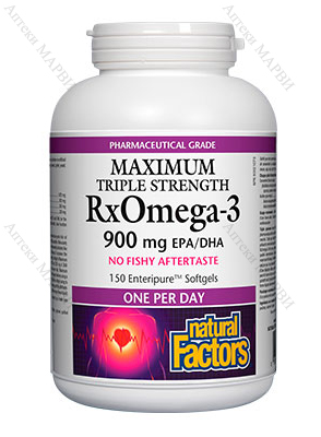 Natural Factors, RX Omega-3 Maximum Triple Strength - рибено масло, 1425 мг., 150 софтгел капс.