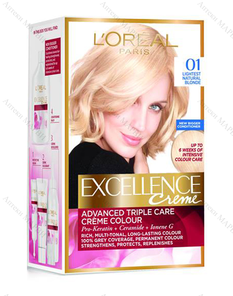 L'OREAL Excellence Creme, Крем-боя за коса, №01 Lightest Natural Blonde / Естествено светло рус (SELL OUT)